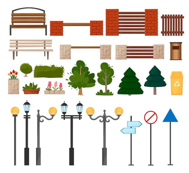 Stedelijke en buitenelementen van de stad lantaarnpalen vuilnisbakken bomen bloemen struiken banken verkeersborden