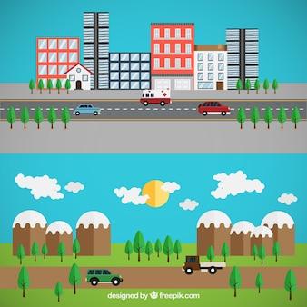 Stedelijke en landelijke weg