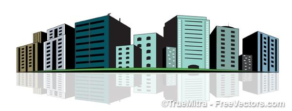 Stedelijke gebouwen groen illustratie vector