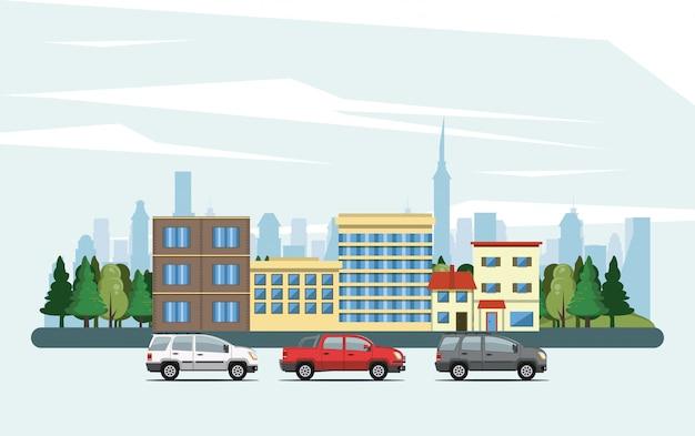Stedelijke gebouwen met stadslandschap