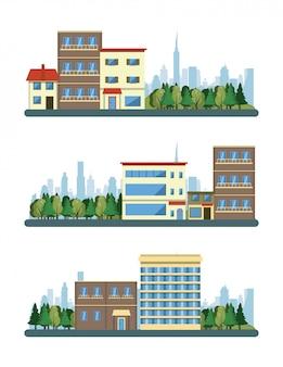 Stedelijke gebouwen stadsgezicht scenarios