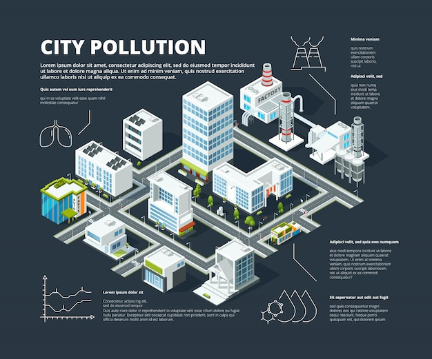 Stedelijke infographic. bedrijfsconcept mensen bevolking megapolis transport gebouwen straat isometrische stad kaart vector infographic