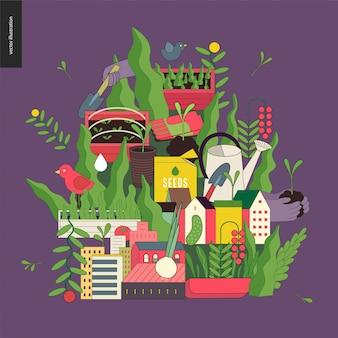 Stedelijke landbouw en tuinieren collage