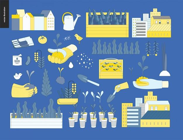 Stedelijke landbouw en tuinieren elementen