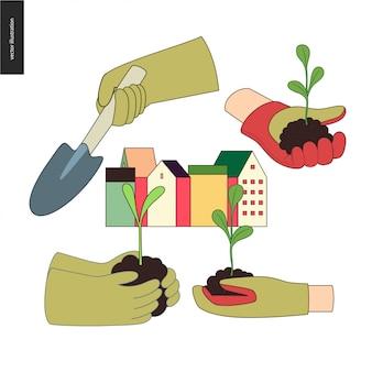 Stedelijke landbouw en tuinieren handen in te stellen
