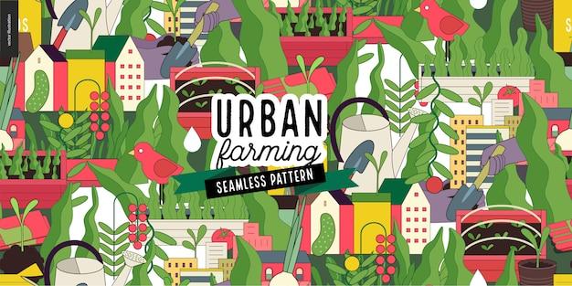 Stedelijke landbouw en tuinieren patroon