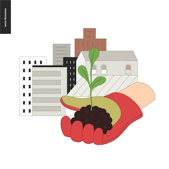 Stedelijke landbouw en tuinieren teken