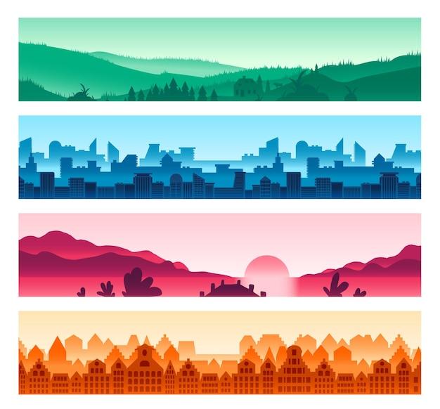 Stedelijke, landelijke landschappen silhouetten set. weide, skyline van de megapolis. oud europees stadsgezicht