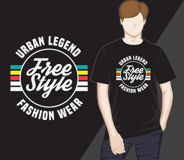 Stedelijke legende vrije stijl typografie t-shirtontwerp
