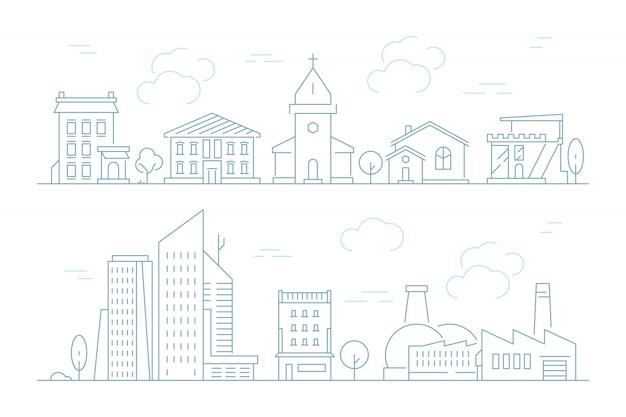 Stedelijke lineaire stadsgezicht set