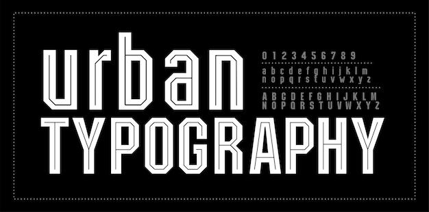Stedelijke moderne alfabet lettertype nummer typografie lettertypen