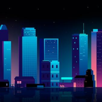Stedelijke scène bij nachtachtergrond