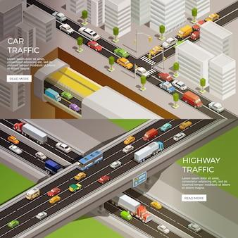 Stedelijke snelweg banners set