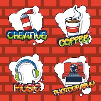 Stedelijke spullen stickers