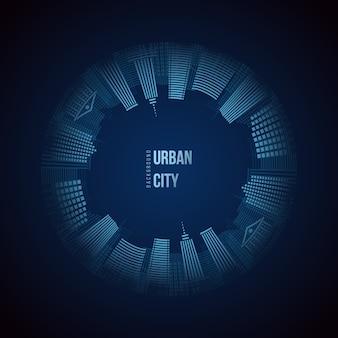 Stedelijke stad cirkel achtergrond.