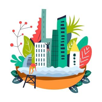 Stedelijke stad en mensen die hoge wolkenkrabbers bouwen