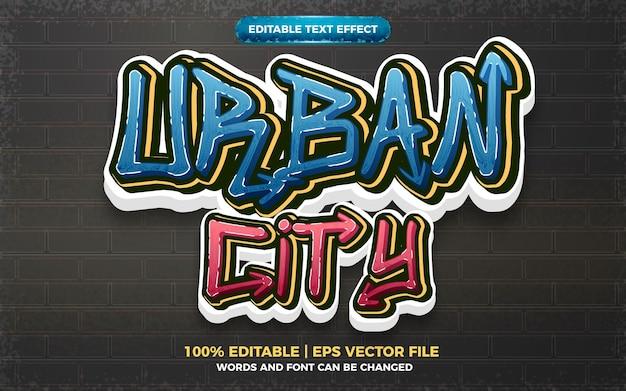 Stedelijke stad graffiti kunststijl logo bewerkbaar teksteffect 3d