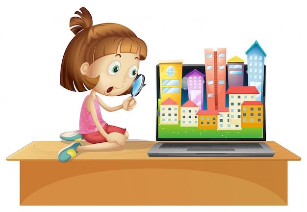 Stedelijke stad op het bureaublad van het computerscherm