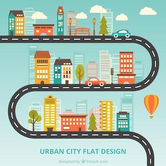 Stedelijke stad plat ontwerp