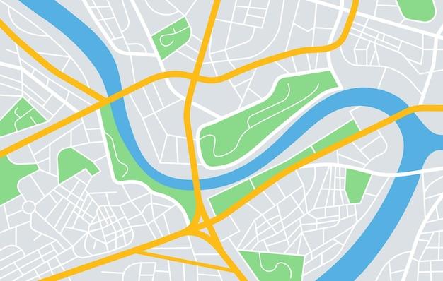 Stedelijke stad vector kaart stadsstraten gps navigatie centrum plan met wegen, parken en rivier