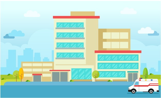Stedelijke stad ziekenhuis flat vector bouwen