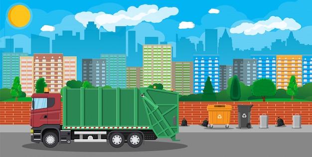 Stedelijke stadsgezicht met vuilnis auto