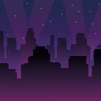 Stedelijke stadslandschap in de nacht