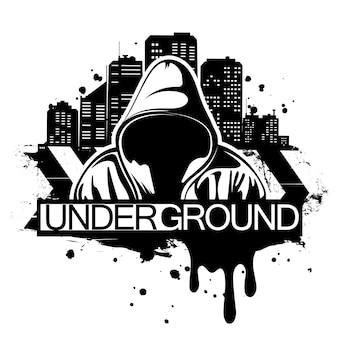 Stedelijke stijlillustratie van de mens in hoodie achter stadssilhouet. street art stijl. t-shirt print ontwerp.