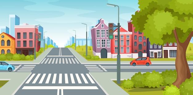Stedelijke straat met wegen, gevel van stedelijke gebouwen en landschap.