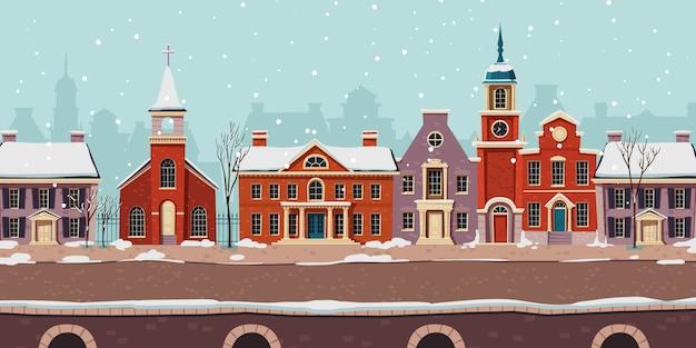 Stedelijke straat winterlandschap, koloniale gebouwen