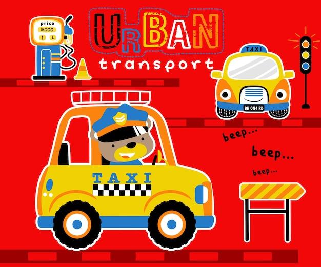 Stedelijke vervoersbeeldverhaal met grappige taxibestuurder