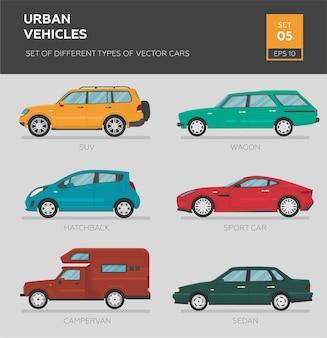 Stedelijke voertuigen. set van verschillende soorten vector auto's sedan