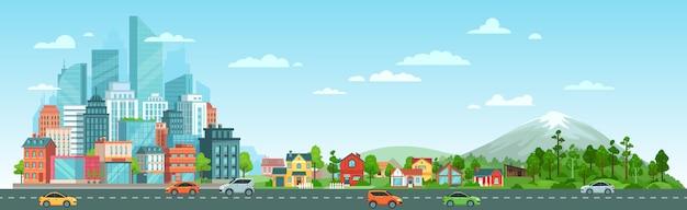 Stedelijke weg met auto'slandschap