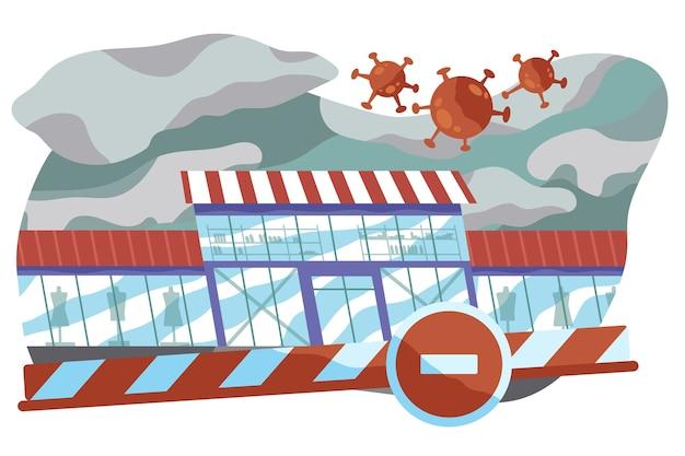 Stedelijke winkelcentra en winkels gesloten vanwege pandemisch virus