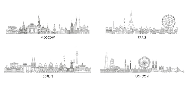Steden skyline lijntekeningen set