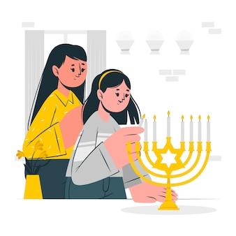 Steek de hanukkah menorah concept illustratie aan