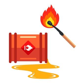 Steek gemorste olie in brand. tekening voorzichtig brandbaar. vlakke afbeelding.