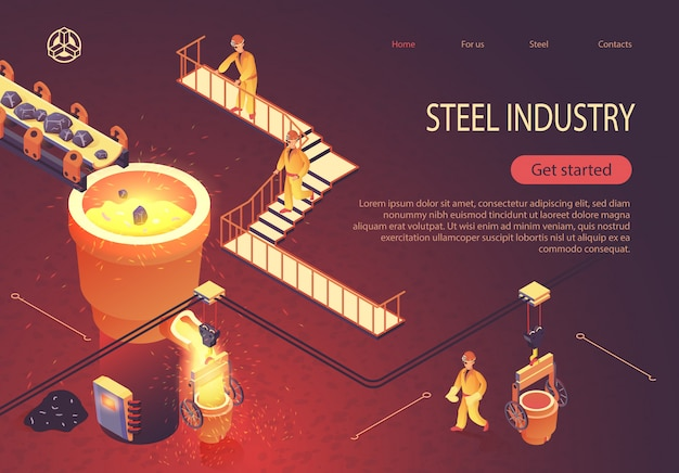 Steel industry landingspagina voor iron factory workshop