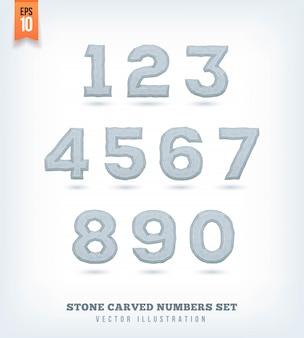 Steen gesneden letters, cijfers en lettersymbolen. illustratie.