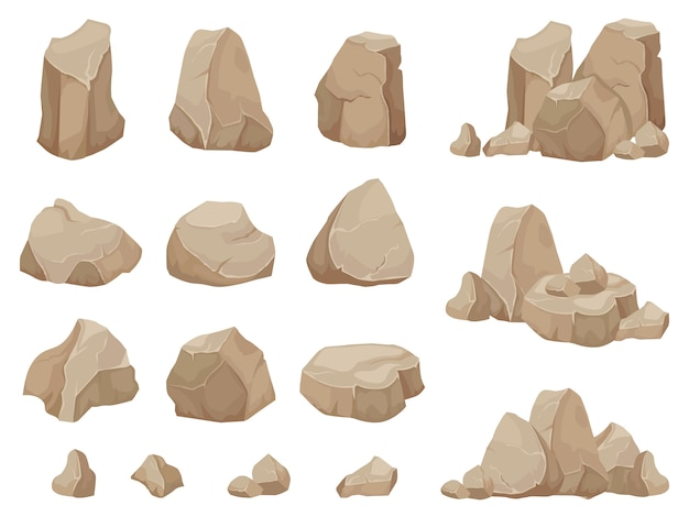 Steen rots. stenen kei, grind puin en stapel stenen cartoon geïsoleerde set