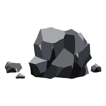 Steenkoolzwarte minerale hulpbronnen. stukjes fossiele steen. veelhoekige vormen. zwarte rotsstenen