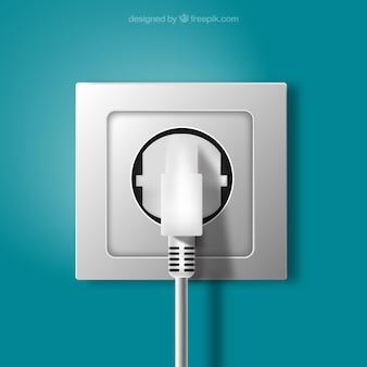 Stekker en stopcontact in realistische stijl