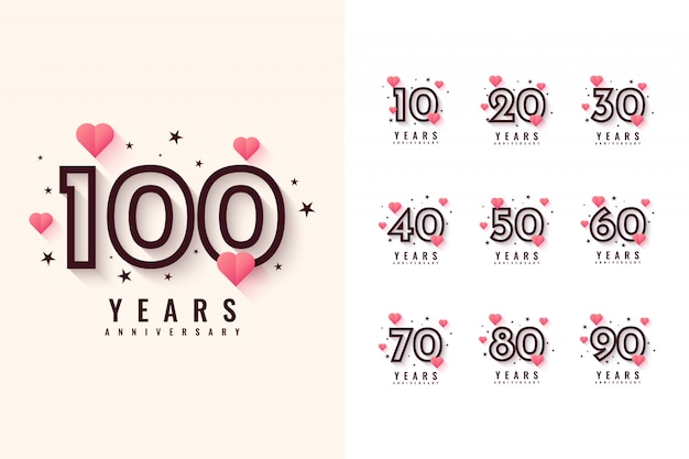 Stel 10 tot 100 jaar jubileumontwerp in