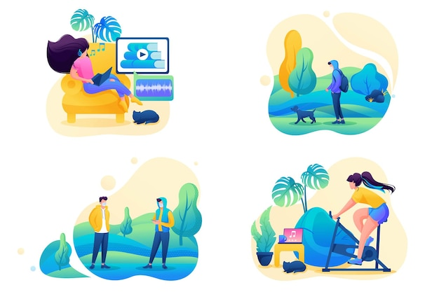 Stel 2d flat in op het onderwerp zelfisolatie van vrouwen, thuiswerken, online training, sport. concept voor webdesign.