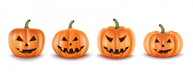 Stel 3d-realistische enge pompoenen in. geïsoleerd. voor decoratie. halloween ontwerp