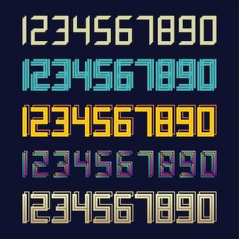 Stel 5 digitaal effect ontwerp met geometrische lettertype-regel in
