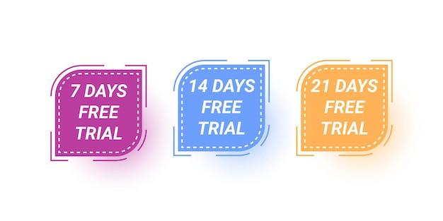 Stel 7 dagen 14 dagen en 21 dagen gratis proeflabelsjabloonontwerp in