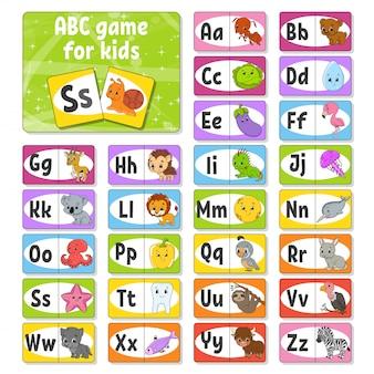 Stel abc-flashkaarten in. alfabet voor kinderen. leren letters.