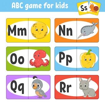 Stel abc-flashkaarten in. alfabet voor kinderen.
