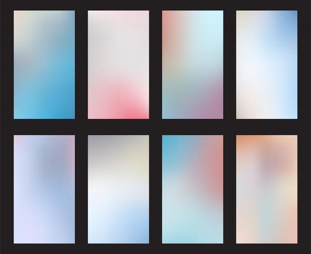 Stel abstract licht vervagen achtergronden smartphones scherm mobiel behang